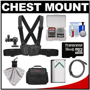 Sony AKA-CMH1 Chest Mount Harness for Action Cam with 32GB Card and NP-BX1 Battery and Case and HDMI Cable and Accessory Kit