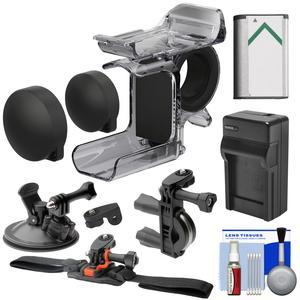 Sony AKA-FGP1 Finger Grip for HDR-AS50 HDR-AS300 and FDR-X3000 Action Cameras with Bike Handlebar Helmet and Suction Cup Mounts and Battery and Charger and Kit