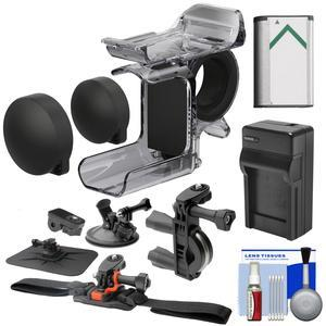 Sony AKA-FGP1 Finger Grip for HDR-AS50 HDR-AS300 and FDR-X3000 Action Cameras with Bike Handlebar Helmet Suction Cup and Dashboard Mounts + Battery and Charger + Kit