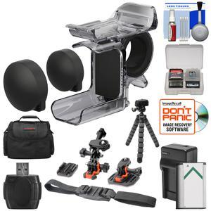 Sony AKA-FGP1 Finger Grip for HDR-AS50 HDR-AS300 and FDR-X3000 Action Cameras with 2 Helmet and Flat Surface Mounts and Battery and Charger and Case and Flex Tripod and Kit