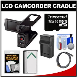 Sony AKA-LU1 Camcorder Cradle with LCD for Action Cam with 32GB Card + NP-BX1 Battery + Charger + HDMI Cable + Accessory Kit