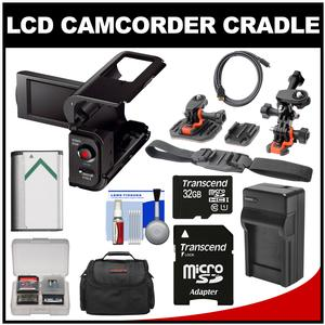 Sony AKA-LU1 Camcorder Cradle with LCD for Action Cam with 32GB Card + Battery/Charger + Case + Flat Surface Curved & Vented Helmet Mounts