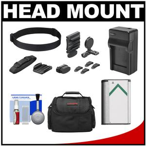 Sony BLT-UHM1 Universal Head Mount for Action Cam with NP-BX1 Battery + Charger + Case + Accessory Kit