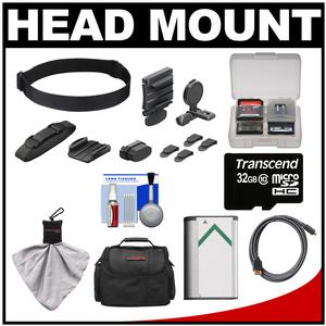 Sony BLT-UHM1 Universal Head Mount for Action Cam with 32GB Card and NP-BX1 Battery and Case and HDMI Cable and Accessory Kit