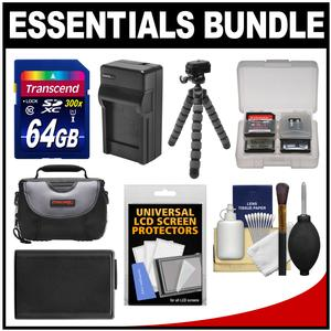 Essentials Bundle for Sony Alpha A6000 A6300 and A6500 Digital Camera and 16-50mm Lens with 64GB Card + Case + NP-FW50 Battery and Charger + Flex Tripod + Kit