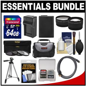 Essentials Bundle for Sony Alpha A6000 A6300 and A6500 Digital Camera and 16-50mm Lens with 64GB Card and Case and NP-FW50 Battery and Charger and Tripod and 3 UV-CPL-ND8 Filters Kit