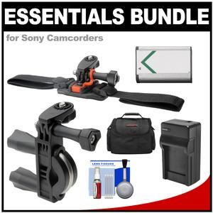 Essentials Bundle for Sony Action Cam HDR-AS50 AS200 AS300 FDR-X1000V and X3000 Camcorder with Handlebar Bike and Vented Helmet Mounts and Battery and Charger and Case and Accessory Kit