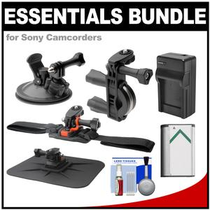 Essentials Bundle for Sony Action Cam HDR-AS50 AS200 AS300 FDR-X1000V and X3000 Camcorder with Handlebar Bike Vented Helmet and Car Mounts + Battery + Charger + Accessory Kit
