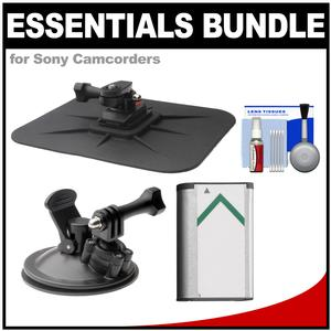 Essentials Bundle for Sony Action Cam HDR-AS50 AS200 AS300 FDR-X1000V and X3000 Camcorder with Car Suction Windshield and Dashboard Mounts + Battery + Cleaning Kit
