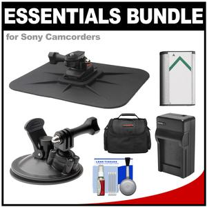 Essentials Bundle for Sony Action Cam HDR-AS50 AS200 AS300 FDR-X1000V and X3000 Camcorder with Car Suction Windshield and Dashboard Mounts and Battery and Charger and Case and Accessory Kit