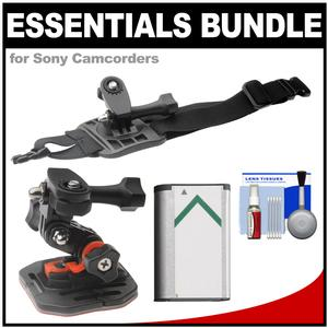 Essentials Bundle for Sony Action Cam HDR-AS50 AS200 AS300 FDR-X1000V and X3000 Camcorder with Curved Helmet and Arm Mounts and Battery and Cleaning Kit