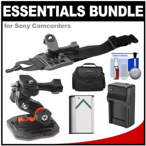 Essentials Bundle for Sony Action Cam HDR-AS50 AS200 AS300 FDR-X1000V and X3000 Camcorder with Curved Helmet and Arm Mounts + Battery + Charger + Case + Accessory Kit