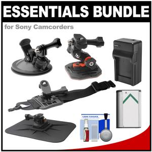 Essentials Bundle for Sony Action Cam HDR-AS50 AS200 AS300 FDR-X1000V and X3000 Camcorder with Curved Helmet Arm and Car Mounts + Battery + Charger + Accessory Kit
