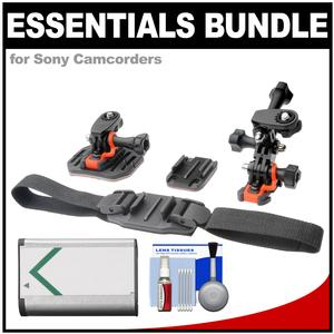 Essentials Bundle for Sony Action Cam HDR-AS50 AS200 AS300 FDR-X1000V and X3000 Camcorder with Helmet and Flat Surface Mounts and Battery and Cleaning Kit