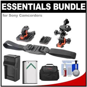 Essentials Bundle for Sony Action Cam HDR-AS50 AS200 AS300 FDR-X1000V and X3000 Camcorder with Helmet and Flat Surface Mounts and Battery and Charger and Case and Accessory Kit