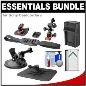 Essentials Bundle for Sony Action Cam HDR-AS20 AS50 AS100V AS200V & FDR-1000X Camcorder with Helmet Flat Surface & Car Mounts + Battery + Charger + Accessory Kit