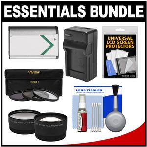 Essentials Bundle for Sony Cyber-Shot DSC-H400 DSC-HX350 and DSC-HX400V Digital Camera with NP-BX1 Battery and Charger + Tele-Wide Lenses + 3 UV-ND8-CPL Filter Kit