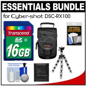 Essentials Bundle for Sony Cyber-Shot DSC-RX100 And RX100 II Digital Camera with 16GB Card And Case And Flex Tripod And Accessory Kit