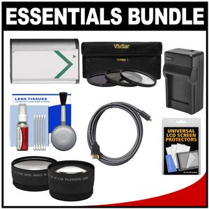Essentials Bundle for Sony Cyber-Shot DSC-RX1 RX1R RX1R II Digital Camera with NP-BX1 Battery and Charger + HDMI Cable + Tele-Wide Lenses + 3 UV-ND8-CPL Filters Kit