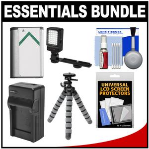 Essentials Bundle for Sony Handycam HDR-CX405 CX440 and PJ440 Camcorders with LED Light + NP-BX1 Battery and Charger + Flex Tripod Kit