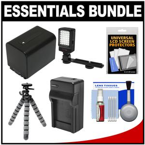 Essentials Bundle for Sony Handycam HDR-CX450 CX455 PJ670 PJ810 AX33 AX100 Camcorders with LED Light + NP-FV70 Battery and Charger + Flex Tripod + Kit