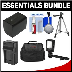 Essentials Bundle for Sony Handycam HDR-CX450 CX455 PJ670 PJ810 AX33 AX100 Camcorders with Case + LED Light + NP-FV70 Battery and Charger + Tripod Kit