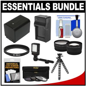 Essentials Bundle for Sony Handycam HDR-PJ540 HDR-PJ670 and HDR-PJ810 Camcorders with LED Light + NP-FV70 Battery and Charger + Flex Tripod + 2 Tele-Wide Lens Kit