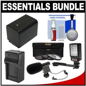 Essentials Bundle for Sony Handycam HDR-PJ540 HDR-PJ670 and HDR-PJ810 Camcorders with LED Light + Microphone + NP-FV70 Battery and Charger + Filters Kit