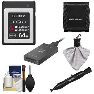Sony 64GB G Series XQD Memory Card with USB 3.1 Reader Adapter with Sony MRW-E90 USB 3.1 Reader and DSLR Cleaning Kit