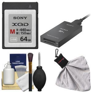 Sony 64GB M Series XQD Memory Card with XQD-SD Reader and Cleaning Kit