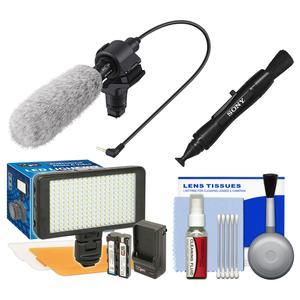 Sony ECM-CG60 Shotgun Microphone with LED Video Light and Diffusers + Kit