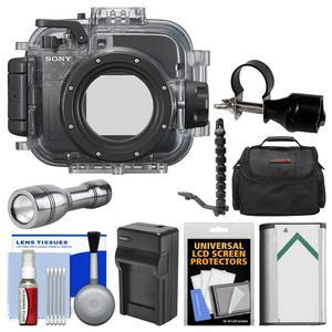 Sony MPK-URX100A Marine Underwater Housing Case for RX100 Series Cameras fits RX100 II III IV and V with Flashlight + Arm + Adapter + Battery and Charger + Case Kit