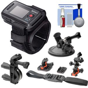 Sony RM-LVR2 Live View Wireless Wristband Remote for Action Camera with 2 Helmet Flat Surface Bike Handlebar and Car Suction Cup Mounts and Kit