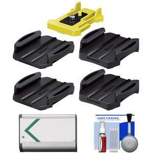 Sony VCT-AM1 Action Cam Adhesive Mount Pack with NP-BX1 Battery + Cleaning Kit