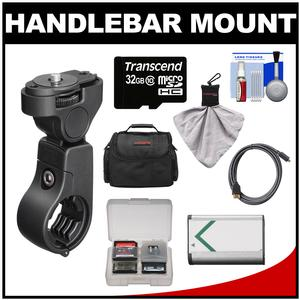 Sony VCT-HM1 Action Cam Handlebar Mount with 32GB Card + NP-BX1 Battery + Case + HDMI Cable + Accessory Kit