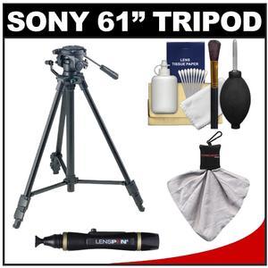 Sony VCT-R640 61 inch Photo/Video Tripod with 2-Way Pan & Tilt Head (Black) with Accessory Kit for A35 A37 A560 A580 A55 A57 A65 A77 NEX-C3 NEX-F3 NEX-5 NEX-5N NEX-7