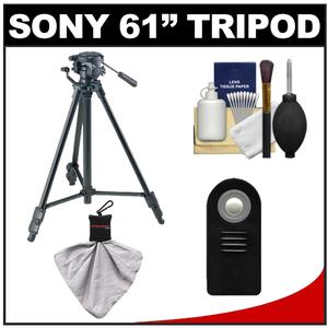 Sony VCT-R640 61 inch Photo/Video Tripod with 2-Way Pan & Tilt Head (Black) with Remote + Accessory Kit for A55 A57 A65 A77 NEX-5 NEX-5N & NEX-7