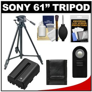 Buy Now Sony VCT-R640 61 inch Photo/Video Tripod with 2-Way Pan & Tilt Head (Black) with NP-FM500H Battery + Remote + Accessory Kit for A57 A65 & A77 Before Special Offer Ends