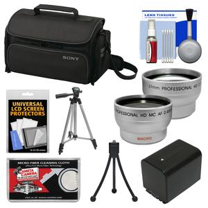 Sony LCS-U20 Medium Carrying Case for Handycam Cyber-Shot NEX Digital Camera (Black) with Wide & Telephoto Lens + Battery + Tripod + Accessory Kit