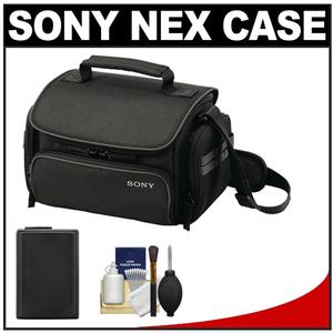 Sony LCS-U20 Medium Carrying Case for Handycam Cyber-Shot NEX Digital Camera (Black) with NP-FW50 Battery + Cleaning Kit