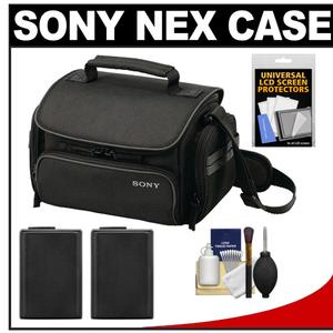 Sony LCS-U20 Medium Carrying Case for Handycam Cyber-Shot NEX Digital Camera (Black) with 2 NP-FW50 Batteries + Accessory Kit