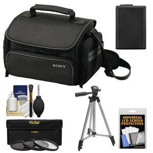 Sony LCS-U20 Medium Carrying Case for Handycam Cyber-Shot NEX Digital Camera (Black) with NP-FW50 Battery + 3 UV/FLD/PL Filters + Tripod + Accessory Kit