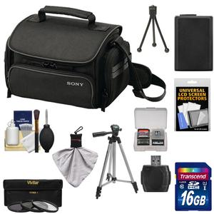 Sony LCS-U20 Medium Carrying Case for Handycam Cyber-Shot NEX Digital Camera (Black) with 16GB Card + NP-FW50 Battery + 3 UV/FLD/PL Filters + Tripod + Accessory Kit