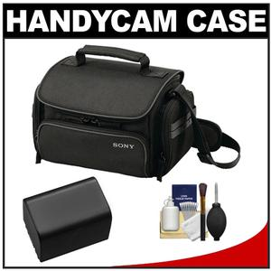 Sony LCS-U20 Medium Carrying Case for Handycam Cyber-Shot NEX Digital Camera (Black) with NP-FV70 Battery + Cleaning Kit