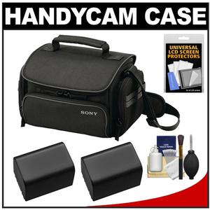 Sony LCS-U20 Medium Carrying Case for Handycam Cyber-Shot NEX Digital Camera (Black) with 2 NP-FV70 Batteries + Accessory Kit