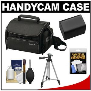 Sony LCS-U20 Medium Carrying Case for Handycam Cyber-Shot NEX Digital Camera (Black) with NP-FV70 Battery + Tripod + Accessory Kit