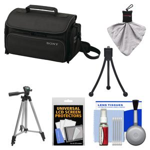 Sony LCS-U30 Large Carrying Case for Handycam Cyber-Shot NEX Digital Camera (Black) with Tripod + Accessory Kit