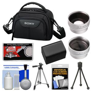 Buy Now Sony LCS-VA15 Carrying Case for Handycam Camcorders (Black) with Wide & Telephoto Lens + Battery + Tripod + Accessory Kit Before Special Offer Ends