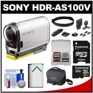 Sony Action Cam HDR-AS100V Wi-Fi GPS HD Video Camera Camcorder with 32GB Card + Battery + Universal Head Mount + Case + Kit
