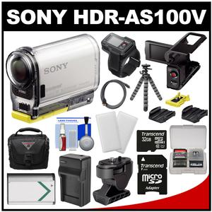 Sony Action Cam HDR-AS100VR Wi-Fi GPS HD Video Camera Camcorder & Live View Remote with 32GB Card + LCD Cradle + Tilt & Adhesive Mounts + Battery + Case + Tripod + Kit